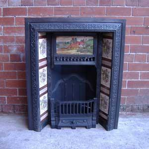 Antique Aesthetic Movement Cast Iron Tiled Fireplace Insert