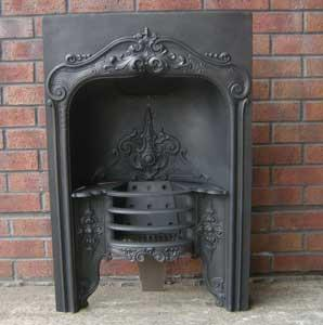 Antique Georgain Hobbed Cast Iron Fireplace Insert